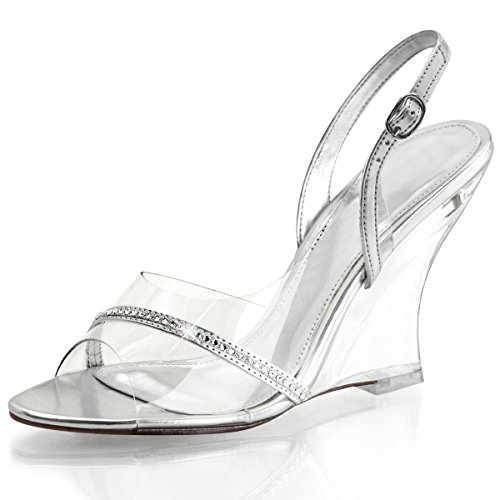 Womens Silver Wedge Shoes Sling Back Sandals 4 Inch Heels Clear Strap and Heel