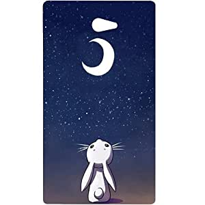 Casotec Moon Bunny Design Hard Back Case Cover for Sony Xperia M2