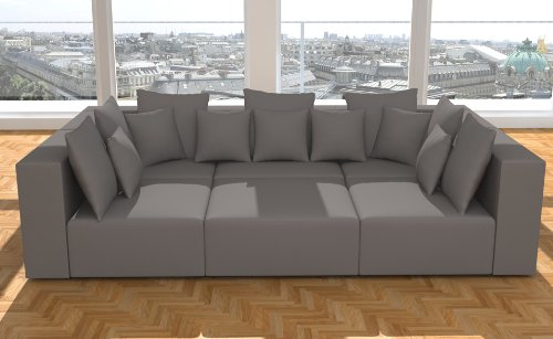 modell hollywood designer wohnlandschaft 6 luxusteile 14 kissen neu in 6 farben alcantara. Black Bedroom Furniture Sets. Home Design Ideas