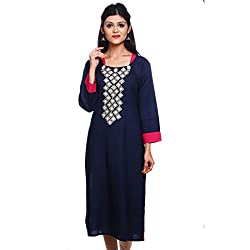 Saamarth Impex Women Cotton Blue Color embroidery Work U Neck Long Straight Style Kurti SI-2851