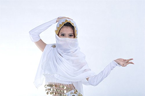 Dreamspell White belly dance veil, fashion veil for dancer