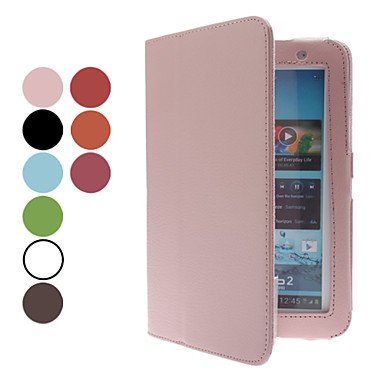 Zcl 7 Inch Solid Color Litchi Pattern Full Body Folio Case With Stylus And Screen Protector(Assorted Colors) , Brown
