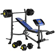 Buy Marcy Starter Weight Bench With 50kg Vinyl Weight Set With Barbell & Dumbell Bars Review-image