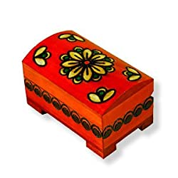 "Wooden Box, 5411, Handcrafted Keepsake Chest, Red with Flower, 4""x2.5""."