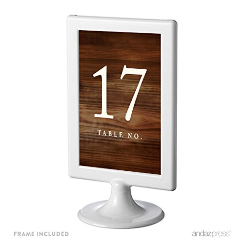 Andaz Press Framed Double-Sided Table Numbers 17-24, Rustic Wood Print, 1-Set, 4x6-inch, Includes Frames