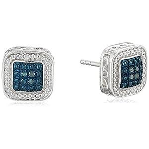 Sterling Silver Blue Diamond Square Stud Earrings