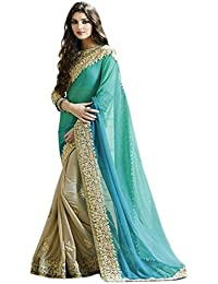 Jay Varudi Creation Women's Sky Blue & Beige Georgette Lycra Half-Half Heavy Embroidered Sarees With Blouse Peice...