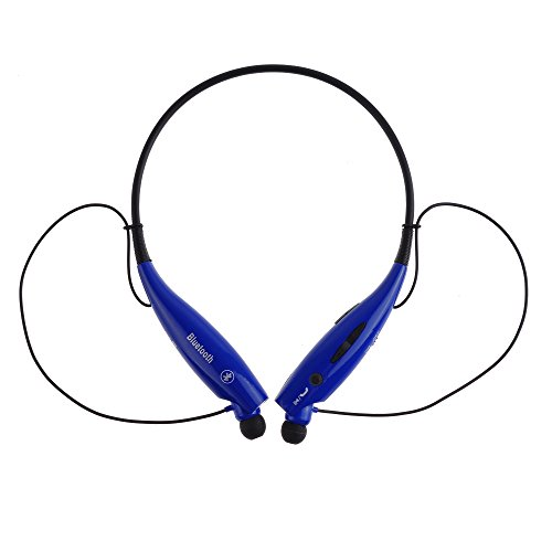 Axiong Universal Hv-800 Wireless Music A2Dp Stereo Bluetooth Headset Universal Vibration Neckband Style Headset Earphone Headphone For Cellphones Enabled Bluetooth (Black+Blue, Hbs-800)