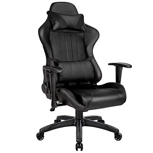 TecTake-Brostuhl-Sportsitz-Racing-Gaming-Stuhl-ergonomisch-mit-Armlehnen-inkl-Lordosensttze-und-Nackenkissen-schwarz-schwarz