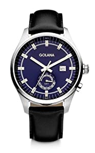Golana Terra Gmt Men's Quartz Watch with Blue Dial Analogue Display and Black Leather Strap TE300-3