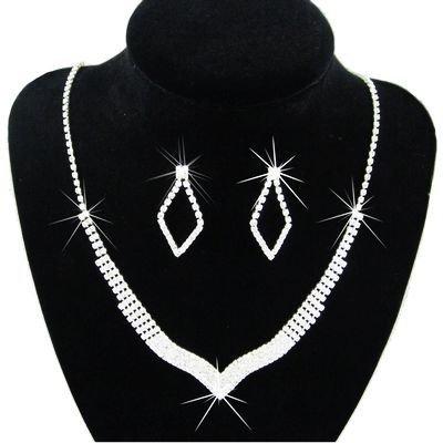 Klaritta Shiny Wedding Bridal Jewellery Rhinestone Set Drop Earrings & Necklace Choker S201