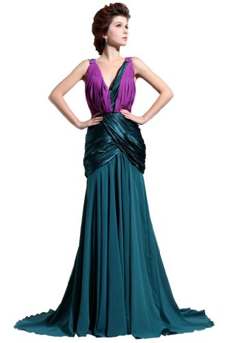 Orifashion Damantic Deep V-neck Fit-n-Flare Long Prom / Evening Dress (Model WDSORJ048), US Size 0