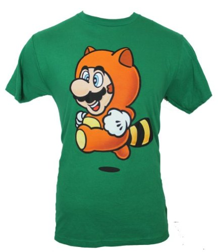 Super Mario Brothers Mens T-Shirt - Racoon Suit Jumping Mario (Extra Large) Green