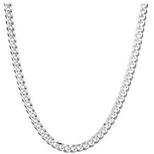 14k White Gold 6.9mm Cuban Chain Necklace, 22
