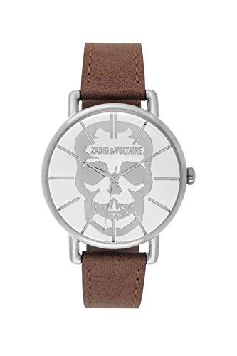 Zadig & Voltaire  - Reloj de cuarzo unisex, correa de cuero color marrón