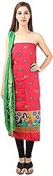 DESINER CLOTHLINE Women's Cotton Unstitched Dress Material (Cl-13, Green)