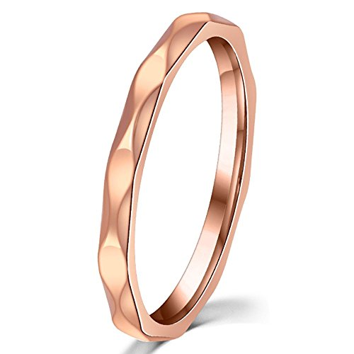 Womens 2mm Wave Prismatic Pattern Rose Gold Ring Engagement Wedding Lady Finger Thin Stainless Steel Band Size 5 (Filigree Engagement Ring compare prices)