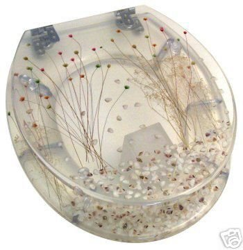 "High Quality ""Seagrass"" design hand finished resin toilet seat with universal chrome fittings"