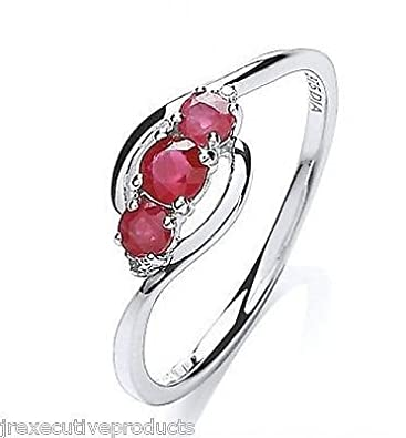 White Gold Real Ruby 3 Stone Ring With Diamonds (size K - T available)