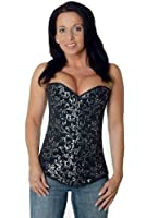Steel boned Corset Brocade Fullbust long Silver from fapedo