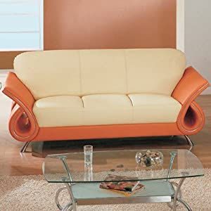 Amazon Clark Leather Sofa Color Tangerine