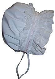 N\'Ice Caps Baby Girls Puffy Eyelet Bonnet With Elastic Back (12-18 months, white/pink)