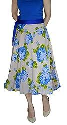 DeeVineeTi Floral Print Women's Wrap Around Skirt, Peach & Blue, FreeSize