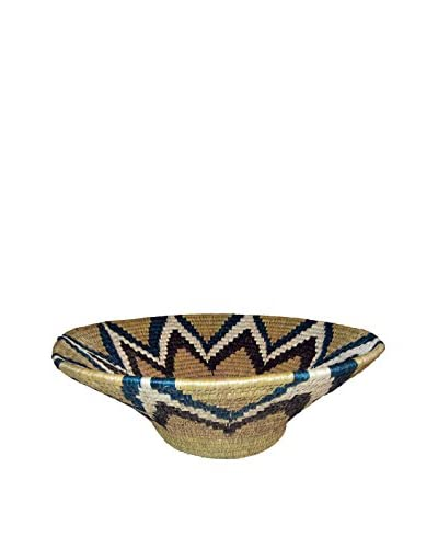 Asian Loft Large Blue Hand-Woven Lutindzi Grass Wicker Bowl, Beige/Black/Blue/White
