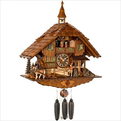 River City Clocks MD820-24 Eight Day Musical Chalet Cuckoo Clock with Dancers, Moving Wagoneer And Waterwheel, 24-Inch Tall