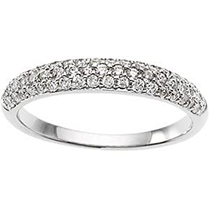 IceCarats Designer Jewelry 14K White Gold Wedding Band Ring. Size 7 Bridal Anniversary Band