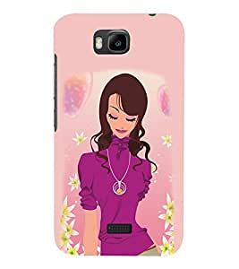 Peaceful Girly Design 3D Hard Polycarbonate Designer Back Case Cover for Huawei Honor Bee :: Huawei Y5C