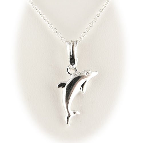 Sterling Silver Dolphin Pendant Diamond Cut Open Curb Chain Necklace for Child 14 Inch
