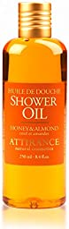 Attirance - Shower Oil - Honey & Almond - 8.4oz - All Natural with Honey Extract, Almond Oil & Almond Extract