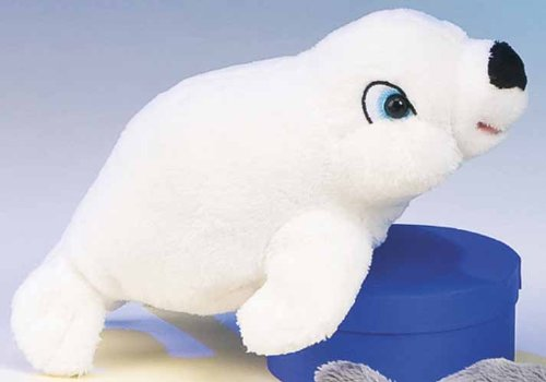 "Plush White Stuffed Seal 8"" for Infants & Children Washable Plush"