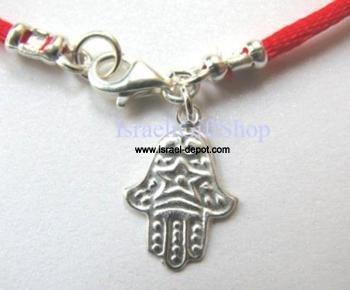 Silver Kabbalah Red String Bracelet Hamsa Hand Ornament