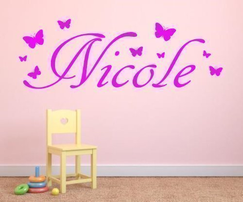 Personalised Custom Name Butterfly vinyl wall art sticker - ANY NAME - 3 sizes - 16 colours - f1 (3 - Large 100 cm long)