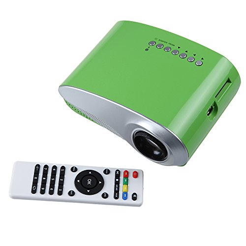 (Real Home Cinema) 2.4Inch Portable Mini Projector 16:9 4:3 50,000 Hours Of Hdmi Usb Sd Vga Av Tv, Pocket Size, 1000:1 Contrast With Max 1920*1080 Native 480*320 Resolution 60Lumen Multimedia Led Projector Support Charged By Vehicle Power (Green)