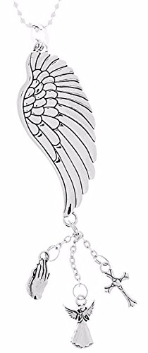 "Cool & Custom {7"" Chain Hang} Single Unit of Rear View Mirror Hanging Ornament Decoration Made of Zinc Alloy w/ Feathered Christian Angel Wing w/ Religious Charms Design [Mazda Silver Colored]"