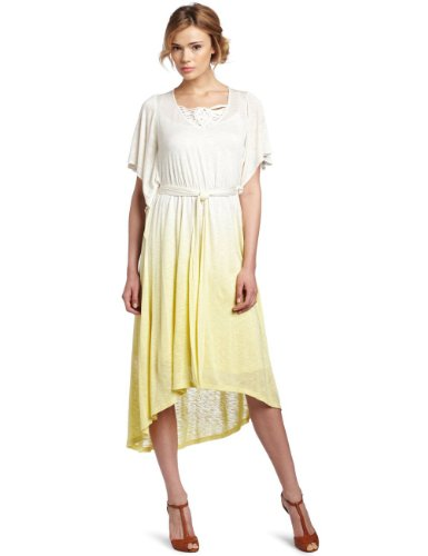 Democracy Women's Flounce Sleeve Hi-Low Maxi Dress, Ivory, Small