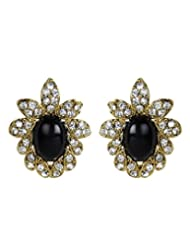 Cinderella Black Antique Gold Ear Stud