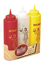 Tablecraft 1112KMC 3-Piece Nostalgia Squeeze Bottle Set, 12-Ounce