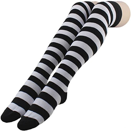Pooqdo (TM) Striped Thigh High Socks Over Knee Girls Halloween Cosplay (Black)