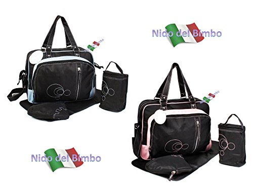 Nido del Bimbo 203 - [LUX PINK] Set Borsa 4 pezzi Cambio Pannolino + Fasciatoio + Porta Biberon + Ganci Passeggino (Accessori TERMICI)