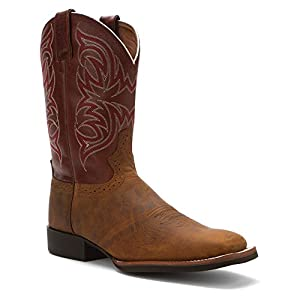 Justin Men's Stampede Cattleman Cowboy Boot Square Toe Tan 7.5 D(M) US