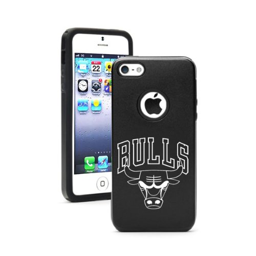 Black Aluminum & Silicone Case Cover for Iphone 5/5s Bulls Laser Etching at Amazon.com