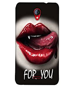 Fuson Blood Red Lips Back Case Cover for MICROMAX UNITE 2 A106 - D3717