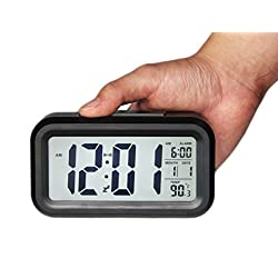 Gloue Digital Alarm Clock Battery Operated with Dual Alarm,temperature Display,snooze and Large Display and Smart Night Light(white Backlight)-battery Operated Alarm Clock and Home Alarm Clock.(black)