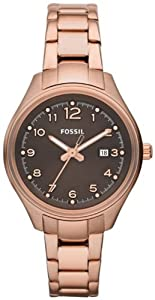 Fossil Women's AM4366 Stainless Steel Analog Brown Dial Watch