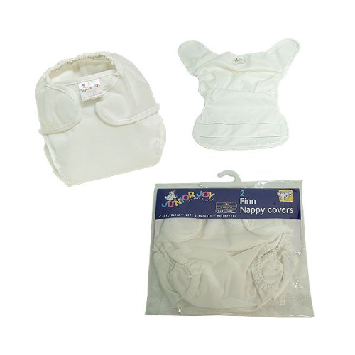 Junior Joy 2-Piece Finn Nappy Cover, White, New Born