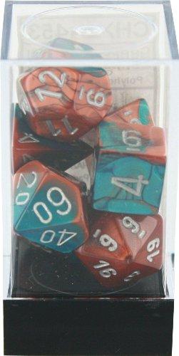 Polyhedral 7-Die Gemini Dice Set: Copper & Teal With Silver (D4, D6, D8, D10, D12, D20 & D00)
